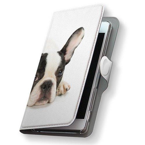 GALAXY S4 SC-04E ケース 手帳型 スマコレ 全機種対応 有り レザー 手帳タイプ 革 フリップ ダイアリー 二つ折り 横開き 革 SC04E ケース スマホケース スマホカバー アニマル 000889 Samsung サムスン docomo ドコモ 犬 フレンチブルドック d-sc04e-000889-nb