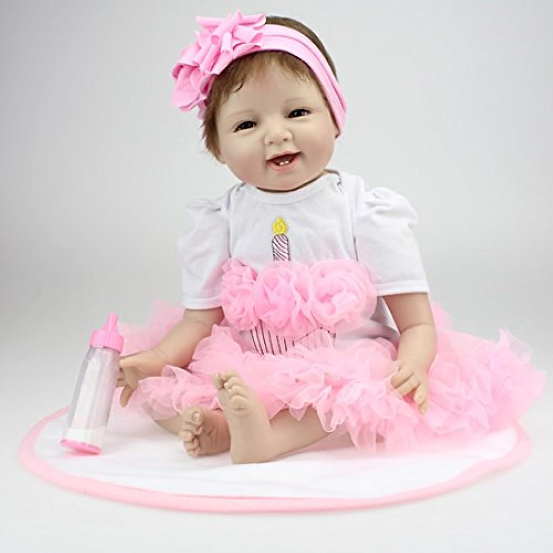 NPKCOLLECTION リボーンベビードールソフトシリコン22インチ55センチメートル磁気口ラブリーリアルなかわいい少年少女のおもちゃピンクの花のヘッドドレス Reborn Baby Doll JP Children Gift