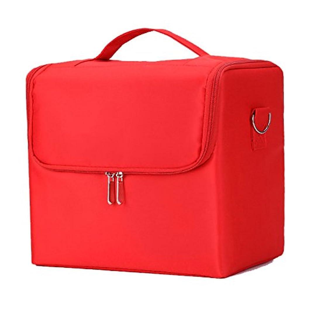受粉する解任財政「XINXIKEJI」メイクボックス コスメボックス ネイルボックス 2段 大容量 機内持ち込み可 洗える 肩掛け 化粧ボックス スプロも納得 収納力抜群 かわいい 祝日プレゼント 取っ手付 コスメBOXレッド
