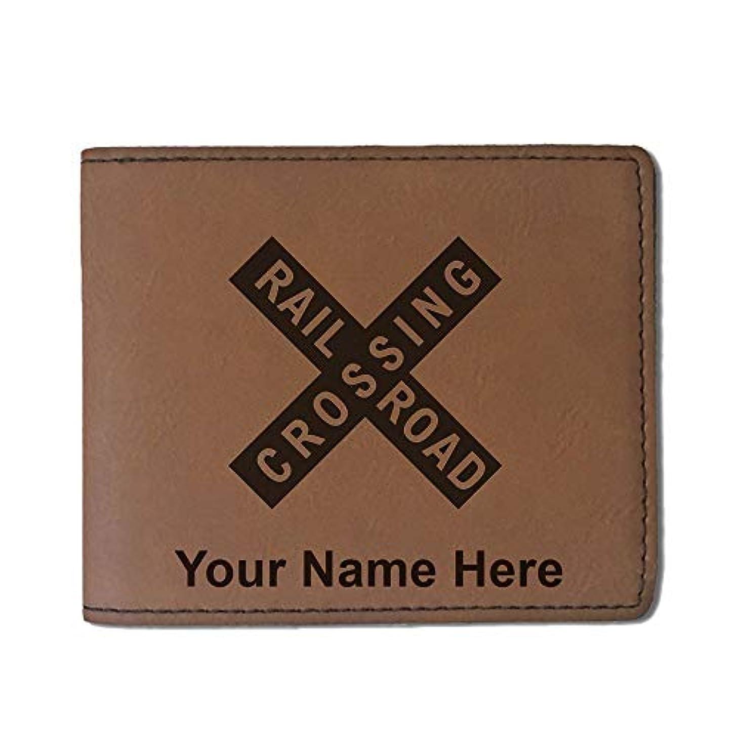 バン夢大宇宙フェイクレザー財布 – Railroad Crossing Sign 1 – カスタマイズ彫刻Included (ダークブラウン)