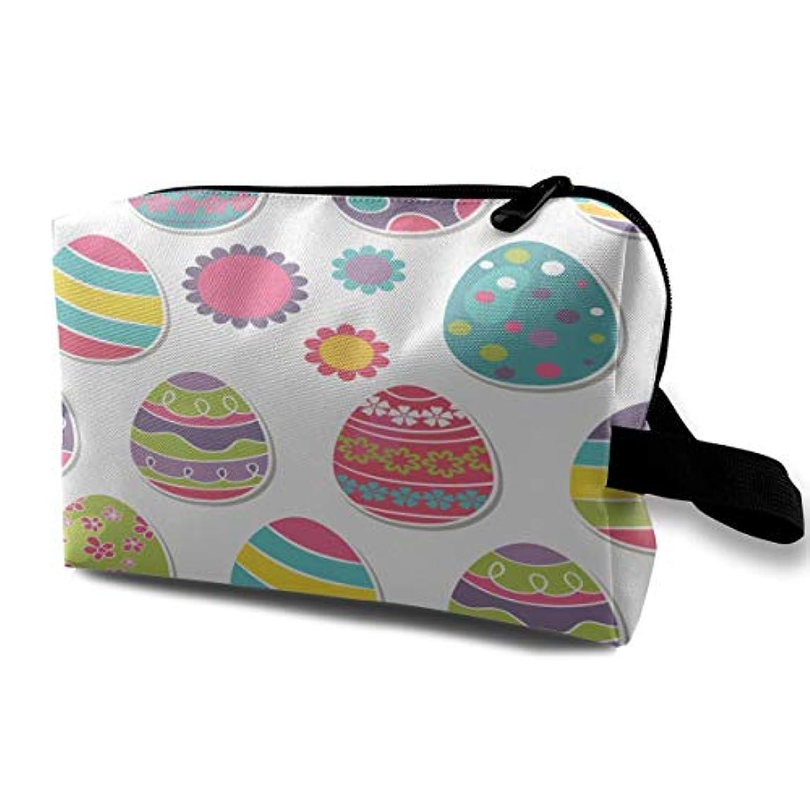 品カーテンまっすぐMulticolors Easter Eggs 収納ポーチ 化粧ポーチ 大容量 軽量 耐久性 ハンドル付持ち運び便利。入れ 自宅?出張?旅行?アウトドア撮影などに対応。メンズ レディース トラベルグッズ