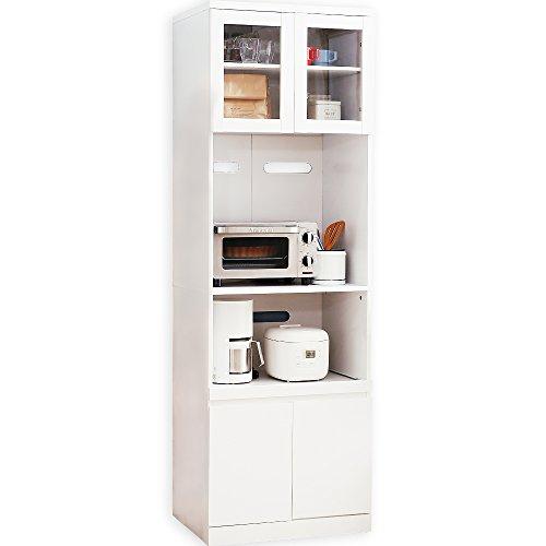 LOWYA (ロウヤ) キッチン収納 食器棚 レンジ台 ハイタイプ 大型レンジ対応 幅59 ホワイト おしゃれ 新生活