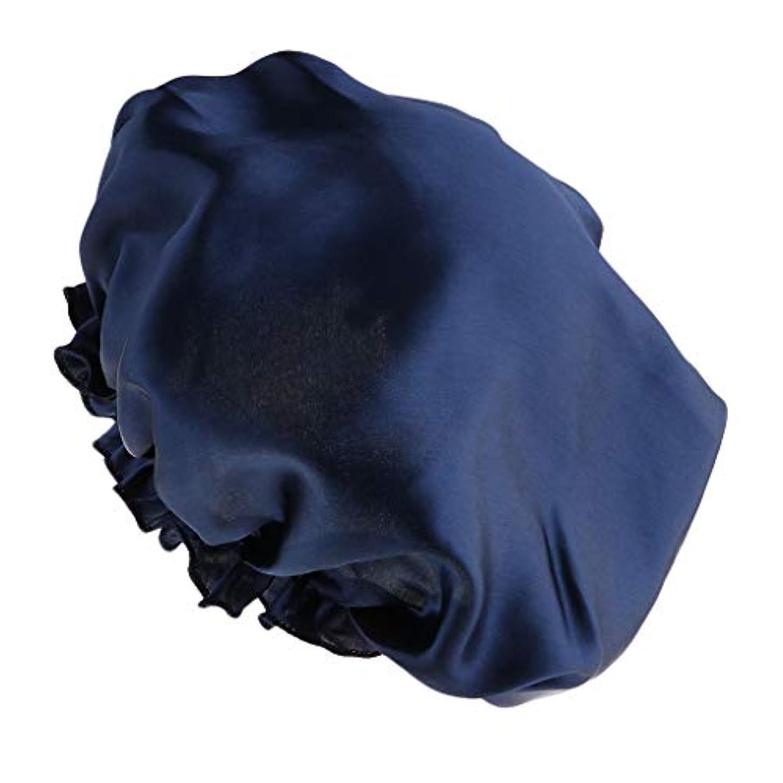 慣らす規模約束するシャワーキャップ シルクサテン 眠り帽子 ヘッドカバー 睡眠キャップ ヘアケア 全8色 - 紺