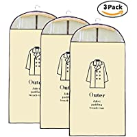 (ハバー)Habor 衣類カバー 洋服カバー スーツ用 オーバーコート 防塵カバー 両面 不織布 透明防塵袋 厚手 3枚組