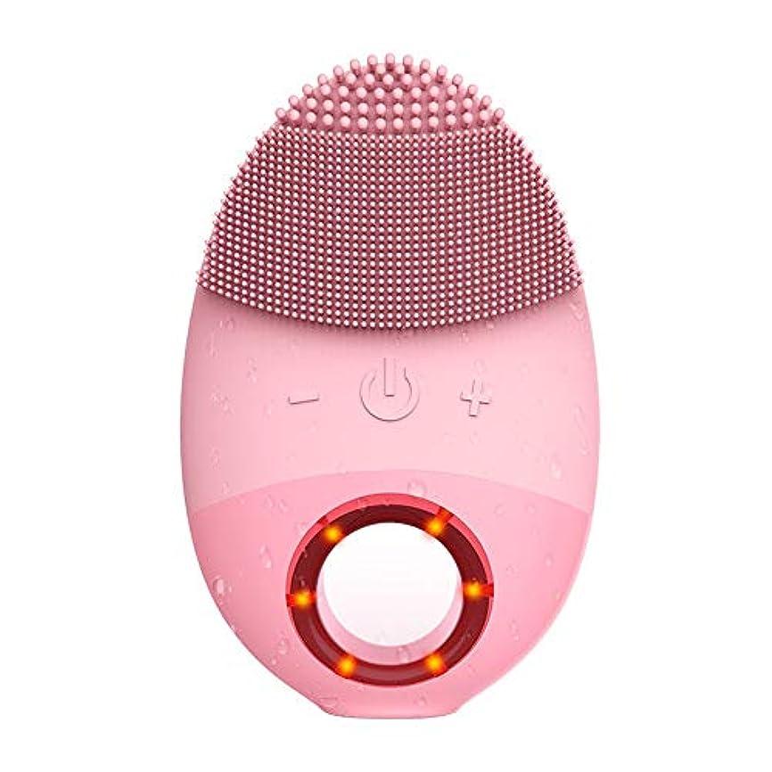 観点皮肉なスプーンZXF 多機能シリコン防水洗浄ブラシ超音波振動洗浄器具美容器具マッサージ器具洗浄器具 滑らかである (色 : Pink)
