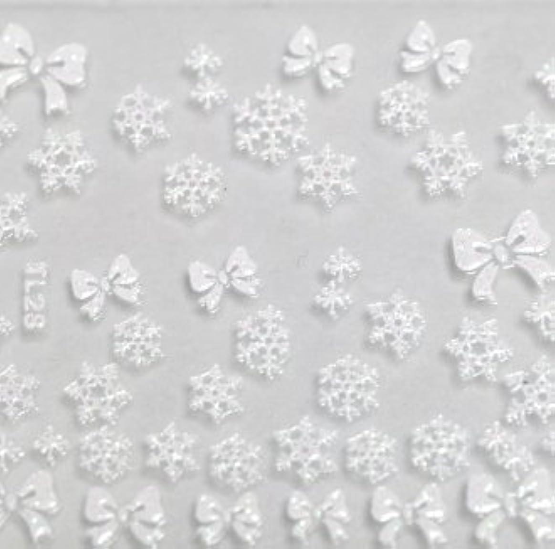 不忠一致するマーティフィールディング雪の結晶&リボン【ラバー素材3Dネイルアートシール】《ホワイト》1シート 46枚入