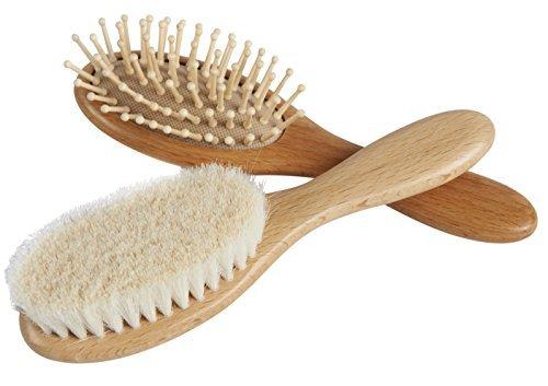 ZHILY ベビー用ヘアブラシ(山羊毛)&櫛セット 柔らかい髪に柔らかいヘアブラシを 頭皮にやさしい ハンド...