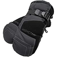 HIGHCAMP Winter Waterproof Ski Snow Mittens Warm for Kids Boys Girls Cold Weather Sports - Jet Black/S