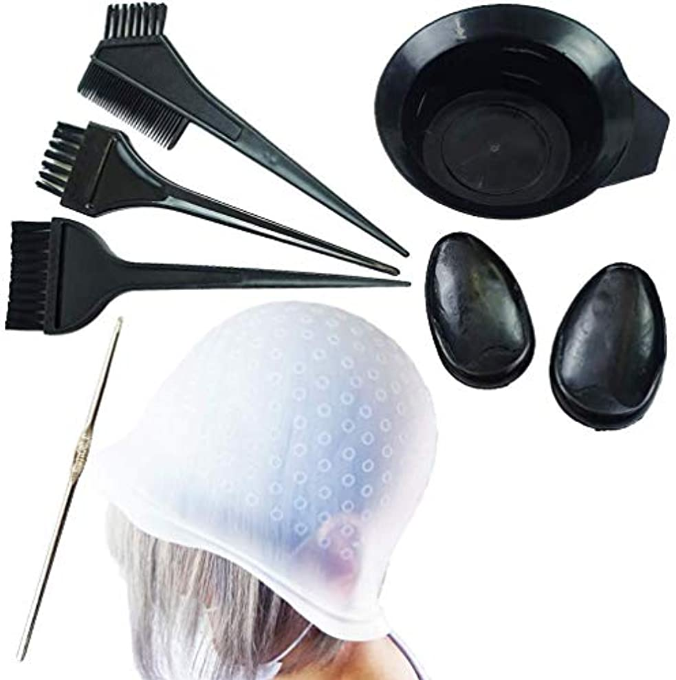 特徴オートメーション使用法7点セット キャップ 繰り返し使える ヘアダイカップ イヤーキャップ セルフヘアカラーセット ハイライト 毛染め