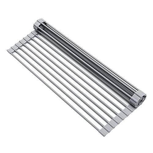 水切りラック 折りたたみ 52 * 33cm longzon 丸める シリコン シンク上 キッチン用品 錆びにくい 耐熱 滑り止め まな板置き