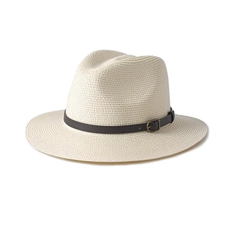 HONEY メンズボウラーレザーストラップ麦わら帽子バイザー帽子カジュアル夏レディースサンハット