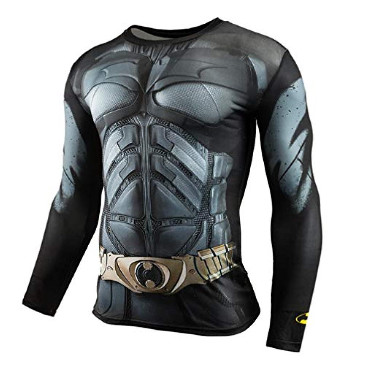 眠いです代数図書館メンズ Tシャツ 長袖 Batmanデジタル印刷運動 吸汗速乾 オールシーズン コンプレッションウェア パワーストレッチ アンダーウェア