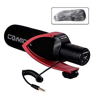Comica CVM-V30 PRO R カメラマイク単一指向性コンデンサーガンビデオマイクDSLR/Canon/Nikon/Sony Panasonic用(3.5mm)(赤)