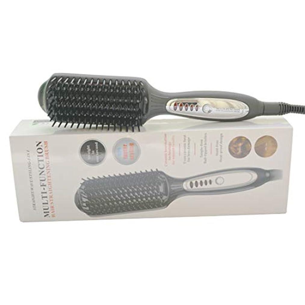 ハンバーガー鎖セージ暖房の電気まっすぐな毛の櫛、LEDの温度調整のマイナスイオン毛のストレートナ モデリングツール (色 : 黒)