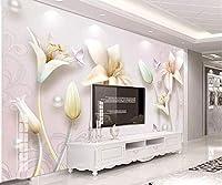 Minyose カスタム壁紙壁画3Dエンボスジュエリーリリーヨーロッパのテレビの背景の壁画3Dの壁紙tapete-400cmx280cm
