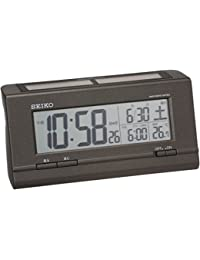 セイコー クロック 目覚まし時計 ハイブリッドソーラー 電波 デジタル カレンダー 温度 表示 黒 メタリック SQ766K SEIKO