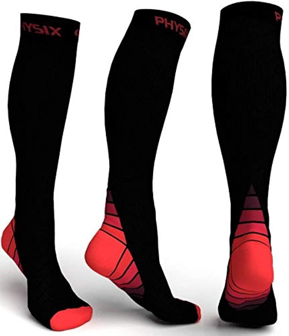 ホーム楽しませる健康Physix Gearコンプレッションソックス男性用/女性用(20?30 mmHg)最高の段階的なフィット ランニング、看護、過労性脛部痛、フライトトラベル&マタニティ妊娠 – スタミナ、循環&回復 (BLACK & RED...