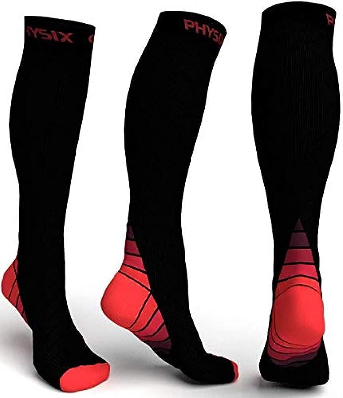 アコードびんブレークPhysix Gearコンプレッションソックス男性用/女性用(20?30 mmHg)最高の段階的なフィット ランニング、看護、過労性脛部痛、フライトトラベル&マタニティ妊娠 – スタミナ、循環&回復 (BLACK & RED...