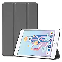 万屋-JP(工場直販品質保証) iPad mini 7.9インチ 第5世代保護ケース 折り畳み式保護ケース 全10色 iPad mini 7.9インチ に向け専用保護ケース PC&PUレザー素材 保護カバー 超薄型 超軽量型 スリープ喚起機能付き 取り付け易い型 人気保護カバー (iPad mini 7.9インチ 第5世代, グレー)