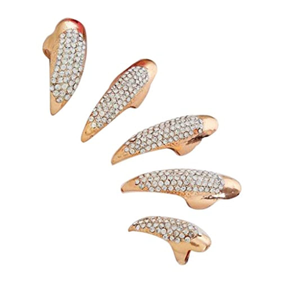 復讐バングラデシュタイピストP Prettyia ネイルリング 爪リング ネイルチップ 指先 爪の指輪 パーティー 仮装 5本セット 2色選べ - ゴールデン