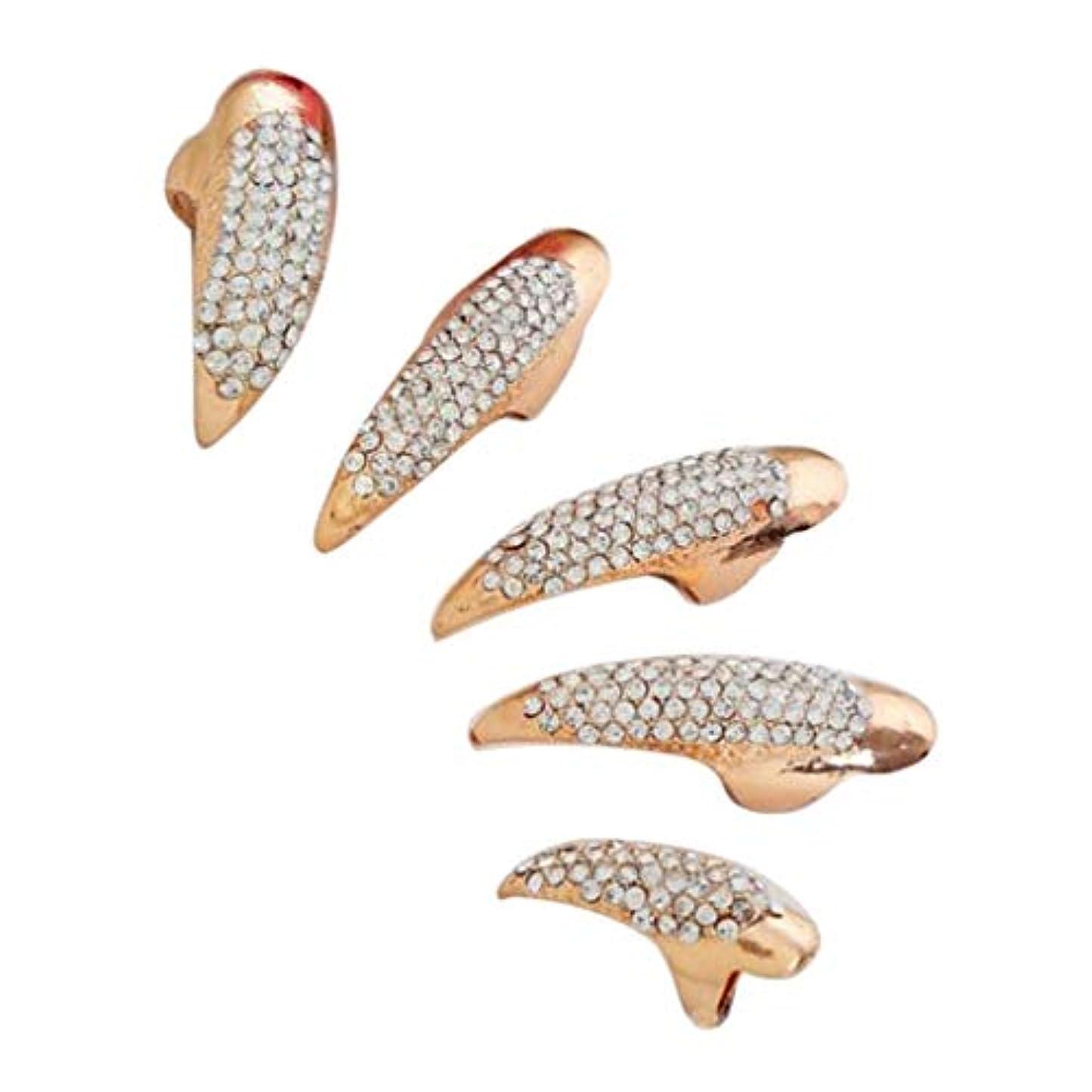 ライター日付マーチャンダイザーP Prettyia ネイルリング 爪リング ネイルチップ 指先 爪の指輪 パーティー 仮装 5本セット 2色選べ - ゴールデン