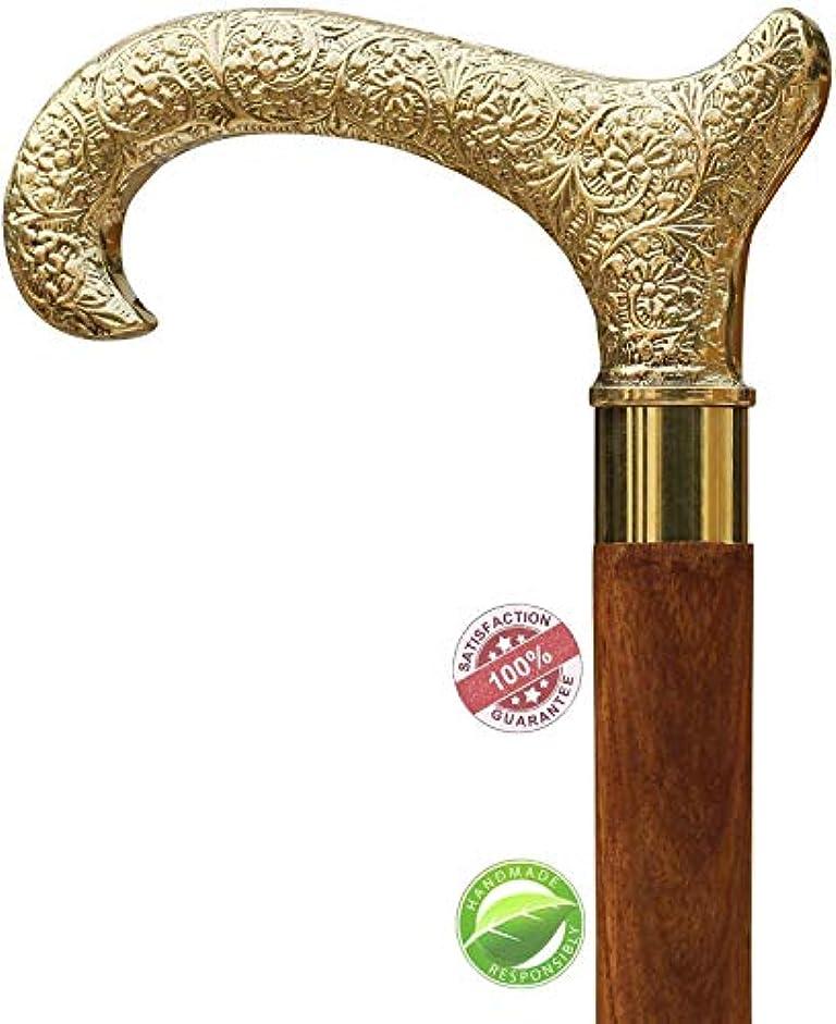 石膏ディプロマ最小化するダービーウォーキングスティック杖 - SouvNear杖と真鍮のハンドルTの形をした天然木の杖の販売 - 木製の装飾的な杖ファッションステートメント [並行輸入品]