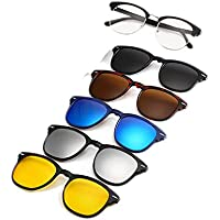 Polarized Sunglasses, 5 in 1 Interchange Lenses for Driving, Walking, Running, Cycling, Clip on Magnetic UV Protection Sunglasses for Men and Women, Clear Vision and Fashionable for Sport and Activities, FREE High Quality Black Bag