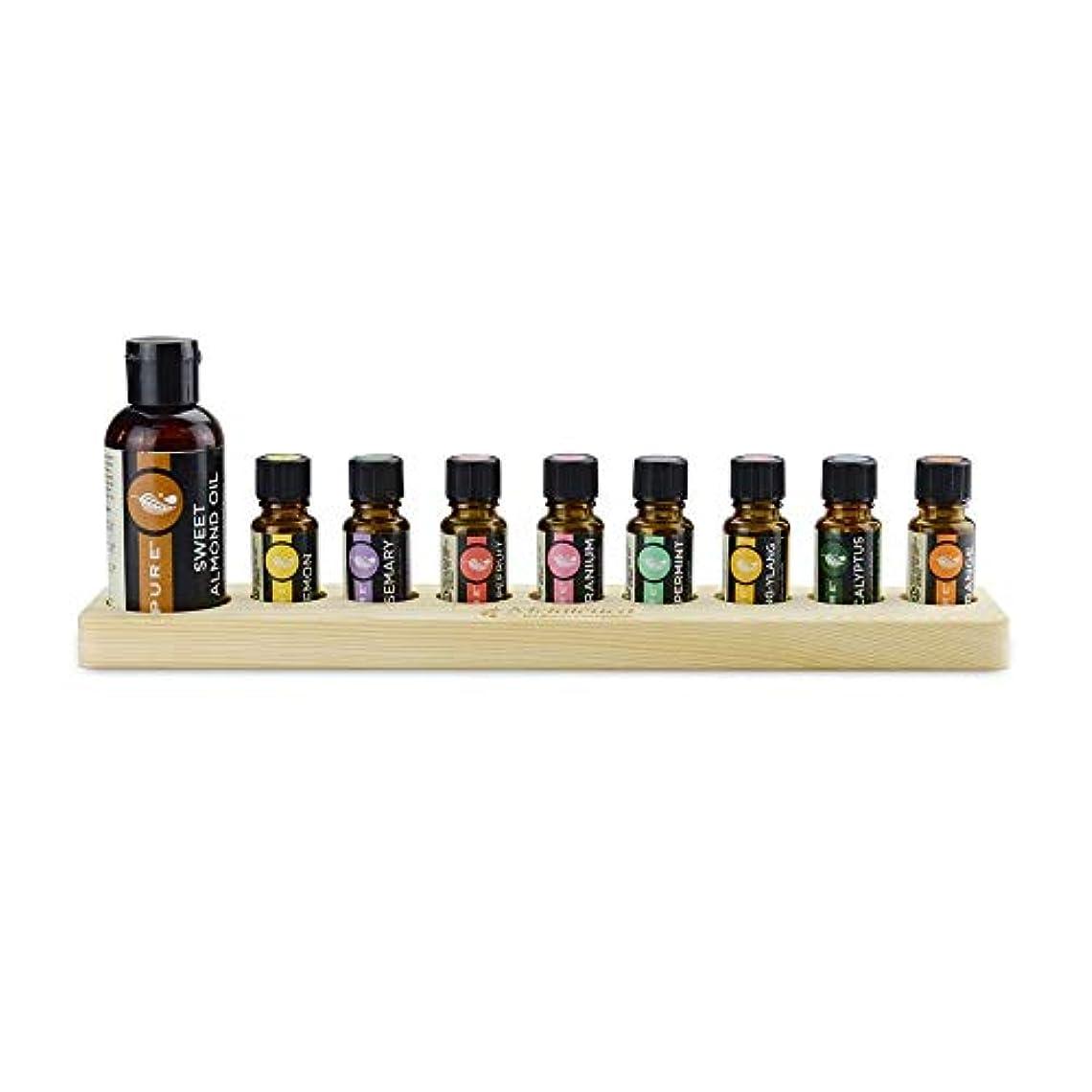 困惑するコイル振幅9スロット木製エッセンシャルオイルストレージホルダーは、9つの15ミリリットル油のボトルを保持します アロマセラピー製品 (色 : Natural, サイズ : Free size)