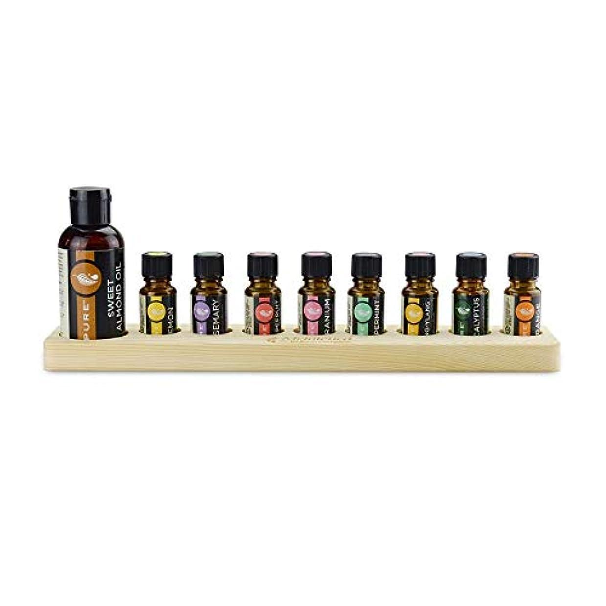 触手受付スリラーエッセンシャルオイルの保管 9スロット木製エッセンシャルオイルストレージホルダーは、9つの15ミリリットル油のボトルを保持します (色 : Natural, サイズ : Free size)