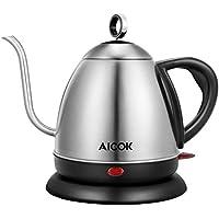 Aicok電気ケトル 1.0L湯沸かしケトル 細口ヤカン おしゃれお茶タイプ コーヒードリップ ステンレス製 BPA-FREE 1000W