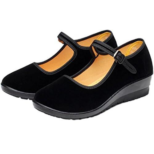 (シャンディニー) Chandeny オシャレ パンプス ローヒール 歩きやすい ベルベット 調 フォーマル シューズ 10741 ブラック 23.0 cm