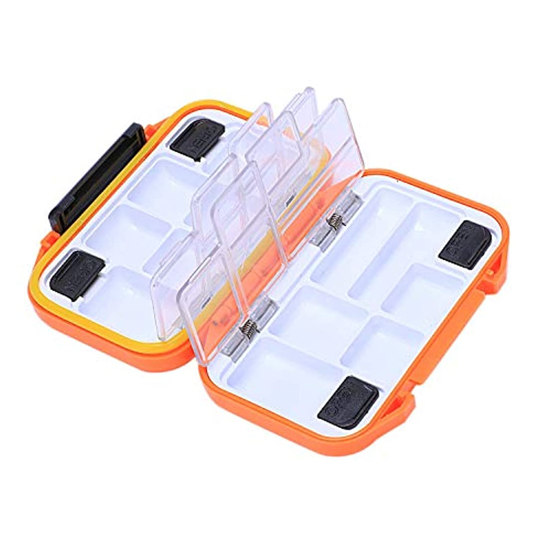 テロリスト苦悩正気TOOGOO 多機能釣り収納ボックス防水二重層オレンジプラスチックボックスフックアクセサリー釣りギア釣り用品ボックスセット - S
