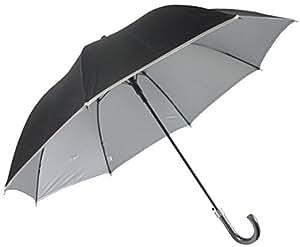 男性用日傘 UVカット 丈夫な耐風骨 ひっくり返っても元通り 紫外線遮蔽率99% 表地黒 裏地シルバー 晴雨兼用タイプ 65cm 大判 ジャンプ傘