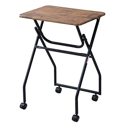 山善(YAMAZEN) テーブル ミニ 簡単組み立て 折りたたみ式 キャスター付き サイドテーブル 幅50×奥行44×高さ70.5cm アンティークブラウン MST-5040(ABR/SBK)