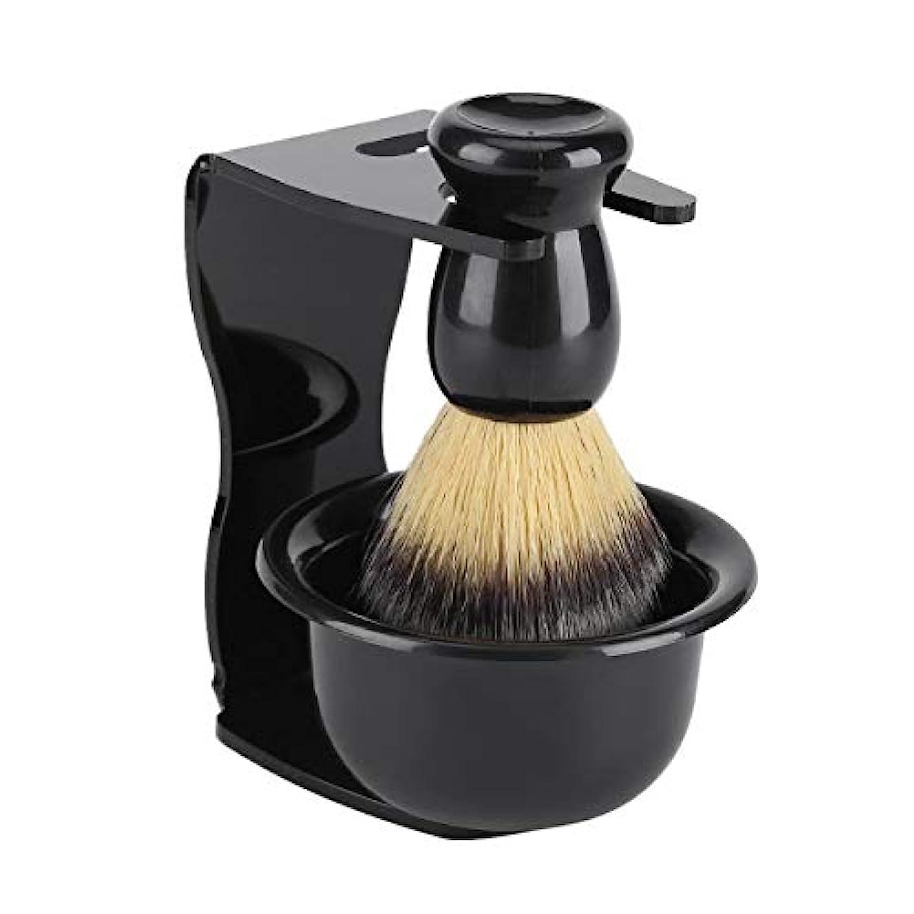 3セットひげブラシ シェービングブラシ プレゼントシェービングブラシセット プラシスタンド 石鹸ボウル 理容 洗顔 髭剃り