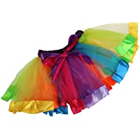 BESTOYARD Girls Layered Rainbow Tutu Skirt Ballet Dress Tiered - Size L