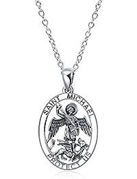 YFN St Christopher Medal Necklace,Sterling Silver Medallion Travel Pendant Necklace for Women Girls
