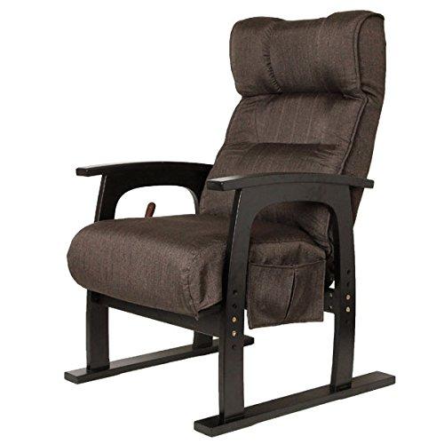タンスのゲン レバー式 リクライニング 高座椅子 ポケットコイル 洗える カバー付き ハイバック 座椅子 高さ調節 肘つき 座いす 1人掛け テレビ座椅子 介護 チェア 15210016 01