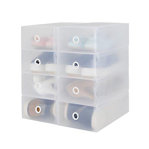 【8箱入り】有楽 シューズボックス 引き出し式 透明 シューズケース 組立て式 靴箱