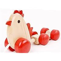 木製Chick Train、sacowベビー木製ChickカートPulls along with 3 Eggsキッズ早期教育玩具