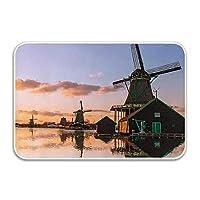 風車伝統的な村の運河ウォーターフロントオランダの建築風光明媚なビュー玄関マットアウトドア/屋内での使用に最適なカラーサイズ16 x 24インチ 75x45cm