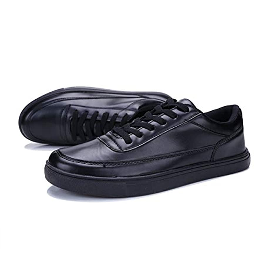 不十分な命題冗長夏の新しいメンズスモールフレッシュレザースケートボードメンズシューズファッションネクタイ学生タイドシューズ1715ブラック-ブラック41