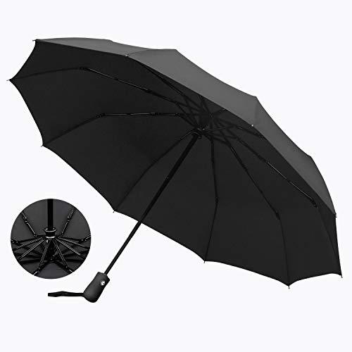 【強化版】折りたたみ傘 ワンタッチ自動開閉 頑丈な10本傘骨 EnacFire 折り畳み傘 Teflon加工 210T高強度グラスファイバー 梅雨対策 晴雨兼用 118cm 軽量楽々 耐風撥水 収納ポーチ付き ブラック
