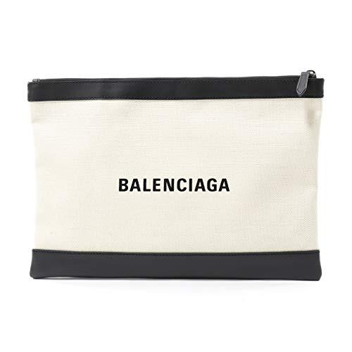 BALENCIAGA バレンシアガ 373840 AQ38N NAVY CLIP M キャンバス×レザー クラッチバッグ ポーチ カラー9260 9260/ナチュラル×ブラック [並行輸入品]
