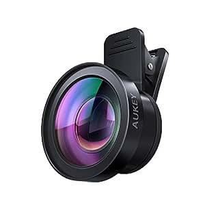 スマホレンズ AUKEY カメラレンズキット セルカレンズ 2in1 (15×マクロ、0.45倍広角レンズ) クリップ式レンズ自撮りレンズ iPhone、Samsung、Sony、Android スマートフォン、タプレットなどに対応 PL-WD06
