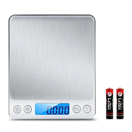 デジタルキッチンスケール 精密皿はかり 多機能クッキングスケール 超高精度電子はかり 計量範0.1gから3000g 風袋引き機能 保存しやすい (電池含む)