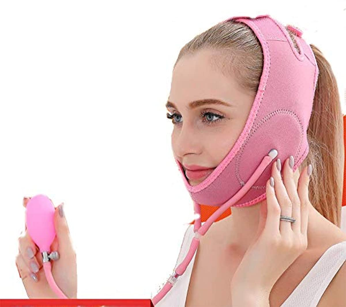 申し込む女の子ナンセンスNICE顔修正ベルト-薄い顔マスク睡眠薄い顔美容サウナータ顔顔帯あごに行く法パターン顔V顔ユニセックス、ピンク