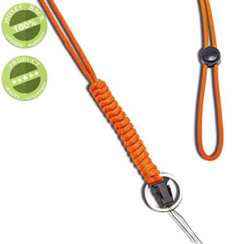 WALNEW ネックストラップ 救助用ロープ 丸紐 多機能ネックストラップ 超頑丈なパラコード ランヤード スマホやデジカメ、ネームプレートや鍵など多様に使用 オシャレな携帯式 吊り下げストラップ,オレンジ