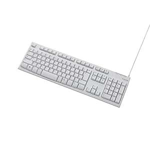 エレコム キーボード 有線 USB接続 1000万回高耐久 ホワイト TK-FCM064WH/RS