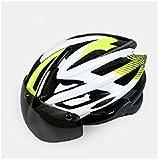 Osize 大人の取り外し可能なゴーグル自転車ヘルメットワンピース調節可能な乗馬ヘルメット(白+緑)